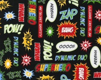 Superhero designer cotton fabric / ZAP BAM POW Words on Black