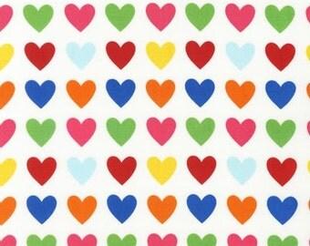 Remix Rainbow Bright Primary Hearts - Ann Kelle / Robert Kaufman Fabrics