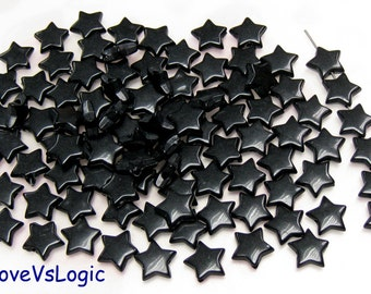 60 Star Acrylic Beads.Black