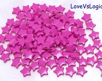 60 Star Acrylic Beads.Dark Fuchsia
