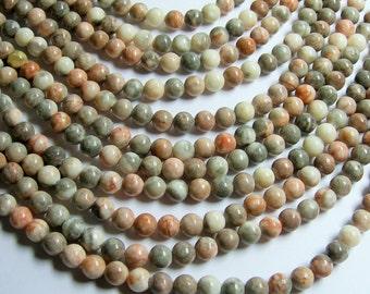 Pink zebra jasper- 8 mm round beads -1 full strand - 48 beads - RFG349
