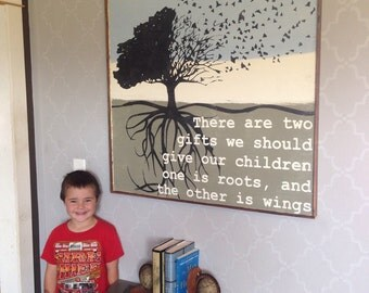 Roots and Wings Quote - Large Tree Wall Art - Gift for Parents - Hand Painted Art - Free Shipping - 3ft x 3ft Home Decor