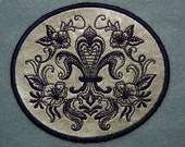 Fleur de Lis on Cowhide Leather Iron on Patch