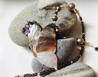 Butterfly Kiss - Handmade Carved Shell Butterfly Necklace