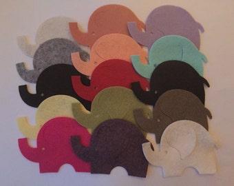 Wool Felt Elephants 15 Count - Random Colored 3034