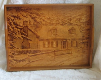 Vintage Wood Tray With Handles & Rustic Cabin Woodlands Winter Scene House of Lloyd
