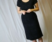 HOLD for SARAH Vintage 60s Wool Wiggle Dress, Black with Purple Piping Mad Men LBD