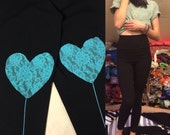 L Aqua Heart Back Seam Leggings size Large