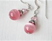 Cats Eye Earrings Cats Eye Sterling Silver Handmade Earrings 925 Pierced Wires Pink Jewelry Pink Beads Briolettes Handmade Jewelry