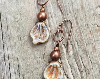 Boho Dangle Leaf Earrings, Small Boho Jewelry