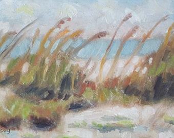Original Plein Air Oil Painting Sea Oats Beach Scene