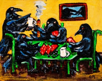 ACEO Poker Playing Crows, Acrylic Painting, Humorous, Funny Art, Blackbirds at Card Table,Original Painting by Artist