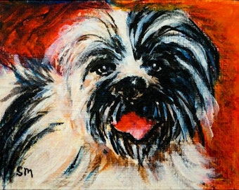 Lhasa Apso Love, ACEO Painting of Lhasa, Original Art by Artist, Expressionist Modern Art, Dog Painting, Canine Art