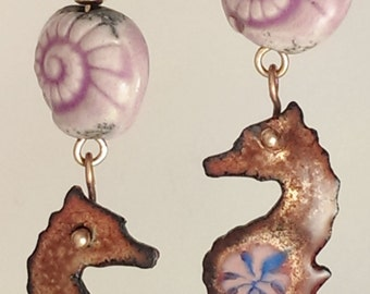SALE! Seahorse Earrings - Enamel and Raku - Pink Nautilus