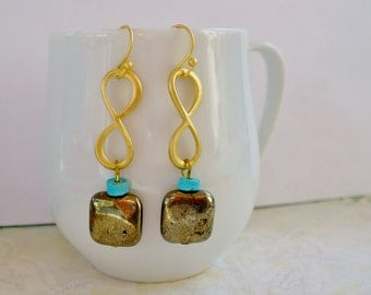Turquoise, pyrite gemstone gold plated earring, square, dangle, drop, loop, infinity
