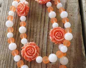 Apricot Swirl Resin Roses and Frosted Glass Beaded Necklace
