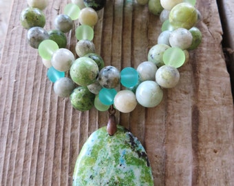 Chrysoprase Jasper and Glass Beaded Necklace with Green Grass Jasper Pendant