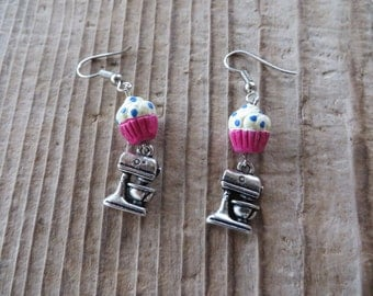 Hand Painted Cupcake Beads and Silver Mixer Charms Dangle Earrings
