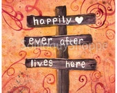 Romantic Love Watercolor Print - Happily Ever After Swirls in Orange and Fuchsia
