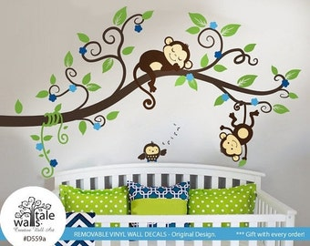 Boy Jungle Monkey Wall Decal with one baby owl for nursery decor. Two Monkeys Tree branch wall decal -d559a