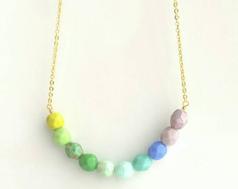 Ombre Necklace - blue green gradient shaded Czech glass faceted beads in simple line strand on delicate gold plated chain - aqua mint purple