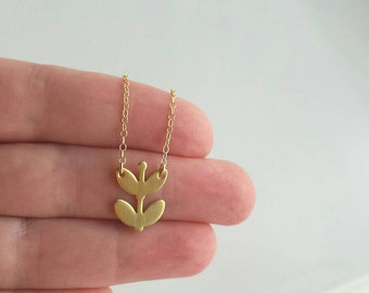 Blossom Necklace - 14K gold filled chain with solid brass plant sprout / leaves - growth change symbol gift - simple delicate pendant charm