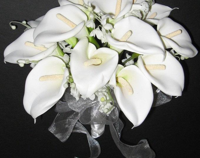 New White Silk Wedding Bouquet, Calla Lily Wedding Flowers, White Calla Lily Bridal Bouquet, White Calla Bridal Posy