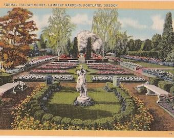 Portland Oregon Vintage Linen Postcard - Lambert Gardens Italian Court - Formal Gardens Ephemera - Portland Souvenir