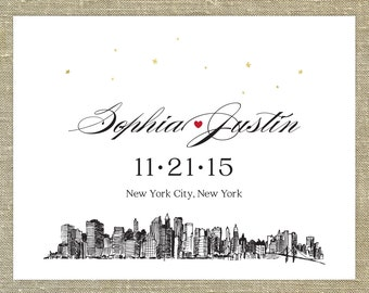 NYC skyline save the Date SAMPLE ONLY; new york city skyline with red heart and gold stars
