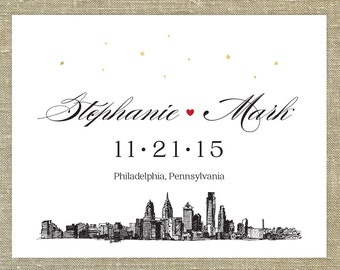 Philadelphia Save the Date SAMPLE ONLY; new york city skyline with red heart and gold stars