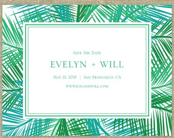 Palm Tree Save The Date SAMPLE ONLY; destination wedding; teal, green, blue