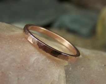 14k Rose Gold 2mm Hammered Band - Solid Gold Band - Sizes 4-9 US