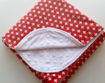 Baby Blanket - Baby Minky Blanket - Red Baby Blanket - Swiss Cross Baby Blanket - Baby Christmas Blanket - Baby Shower Gift