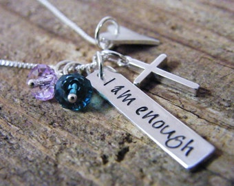 I am enough sterling silver necklace with Christian cross and heart
