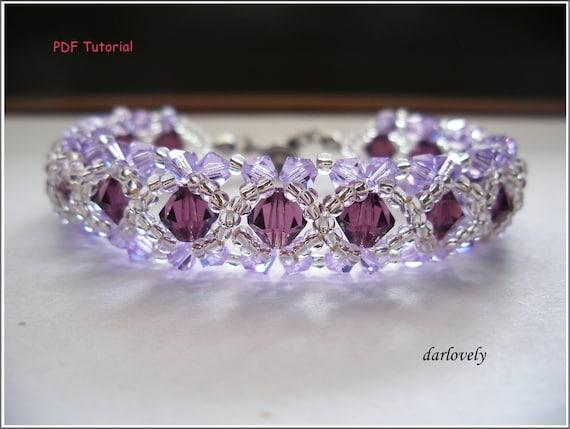 Beaded Bracelet Tutorial Pattern - Swarovski Amethyst Violet Bracelet (BB004) - Beading Jewelry PDF Tutorial (Digital Download)