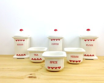 Vintage Ceramic Canister Set / Country Kitchen / White and Red Floral / Studio Nova Containers / Mikasa Canisters / Coffee Flour Canisters