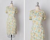 vintage 1950s dress / 50s linen dress / floral linen dress / Wildflower Medley dress