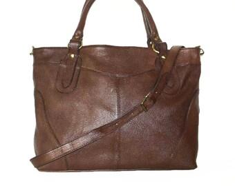 Nora BIS XL. Rustic Brown Leather Tote Bag Cross-body Purse Handbag
