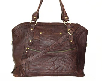 "Leather Tote Bag Cross-body Bag Magui BIS extra large vintage mahogany brown, fits a 17"" laptop"