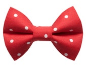 "Cat Bow Tie - ""The Apprentice""  - Red with White Polka Dot"