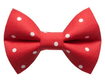 """Cat Bow Tie - """"The Apprentice""""  - Red with White Polka Dot"""