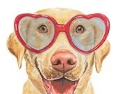 ORIGINAL Dog Watercolor Painting - Labrador Retriever, 11x14 Watercolour, Dog Illustration, Heart Glasses, Original Animal Art
