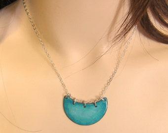 Crescent moon necklace Turquoise necklace Teal enamel jewelry Enamel pendant