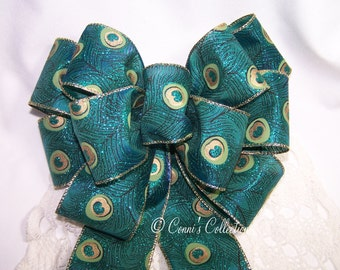 Peacock Feather Bow Green Blue Gold Great for Wreath or Holiday Christmas Decoration Gift Peacock Wedding Pew Bow