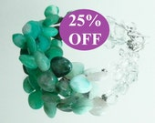 NOW 25% OFF Peruvian Blue Opal Smooth Briolette and Faceted Quartz Bracelet