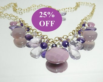 NOW 25% OFF - Lilac Chalcedony, Amethyst and Phosphosiderite Briolettes Necklace on Gold Filled Chain