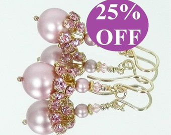 NOW 25% OFF Vintage Crystal and Swarovski Pearl Earrings with Gold Filled Ear Wires