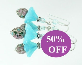 NOW 50% OFF - Turquoise Opal Glass Flowers, Cloisonne and Sterling SIlver Earrings