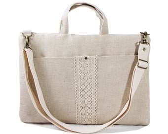 "15"" Macbook or Laptop bag with front pocket and detachable shoulder strap -Ready to ship"
