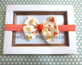 Orange baby headband, baby bow headband, orange baby hair bow, newborn, infant, toddler, girl headband